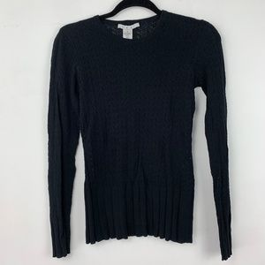 Cabi Black Knit Ribbed Crew Neck Long Sleeve